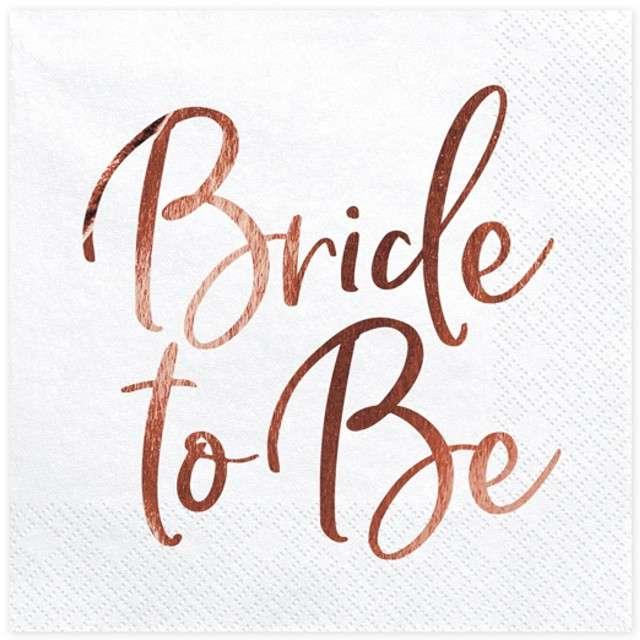 """Serwetki """"Bride to Be"""", białe, PartyDeco, 33 cm, 20 szt"""