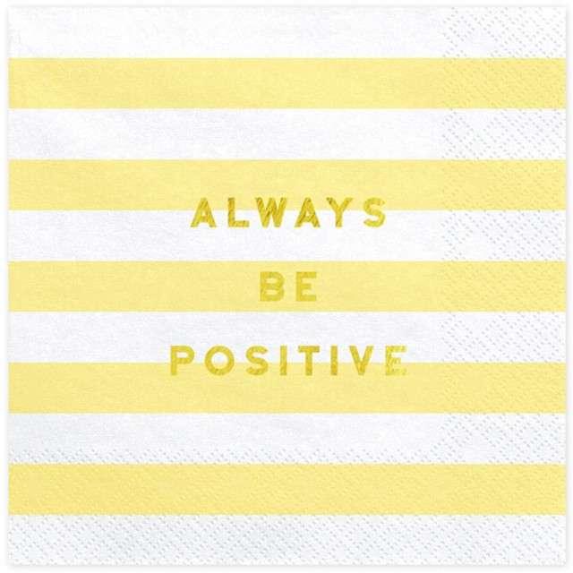 """Serwetki """"Yummy - Always Be Positive"""", żółty jasny, PartyDeco, 33 cm, 20 szt"""