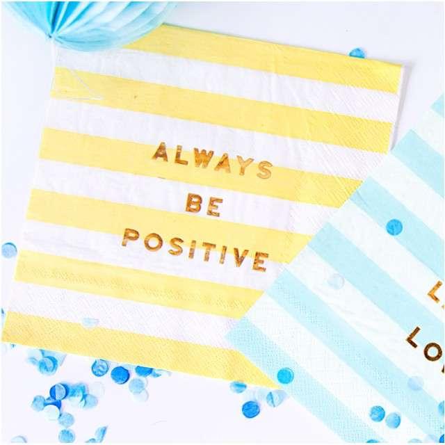 Serwetki Yummy - Always Be Positive żółty jasny PartyDeco 33 cm 20 szt