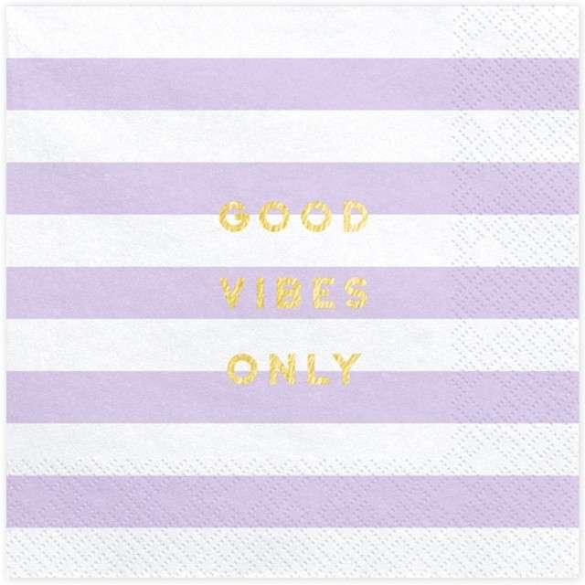 """Serwetki """"Yummy - Good Vibes Only"""", liliowy jasny, PartyDeco, 33 cm, 20 szt"""