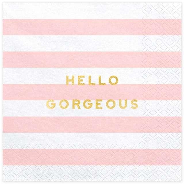 """Serwetki """"Yummy - Hello Gorgeous"""", różowy jasny, PartyDeco, 33 cm, 20 szt"""