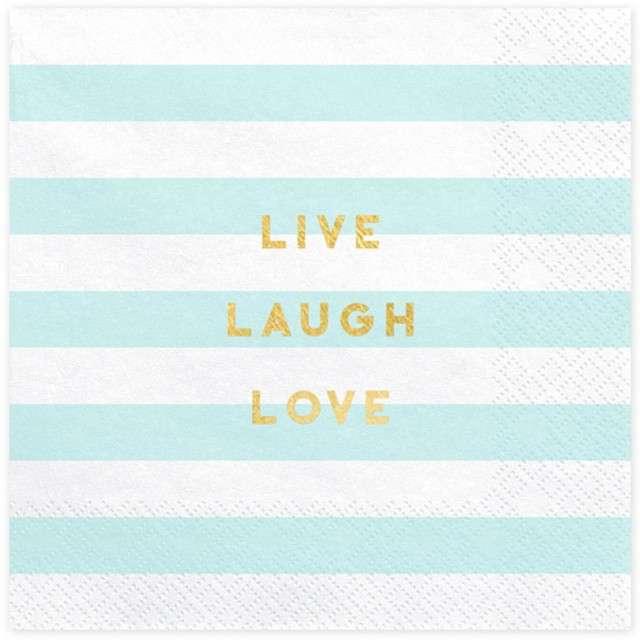 """Serwetki """"Yummy - Live Laugh Love"""", niebieski jasny, PartyDeco, 33 cm, 20 szt"""
