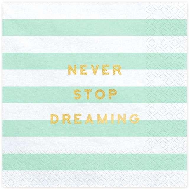 """Serwetki """"Yummy - Never Stop Dreaming"""", miętowy, PartyDeco, 33 cm, 20 szt"""