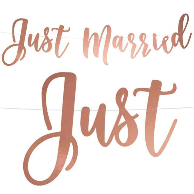 "Baner ""Just Married"", różowe złoto, PartyDeco, 77 cm"