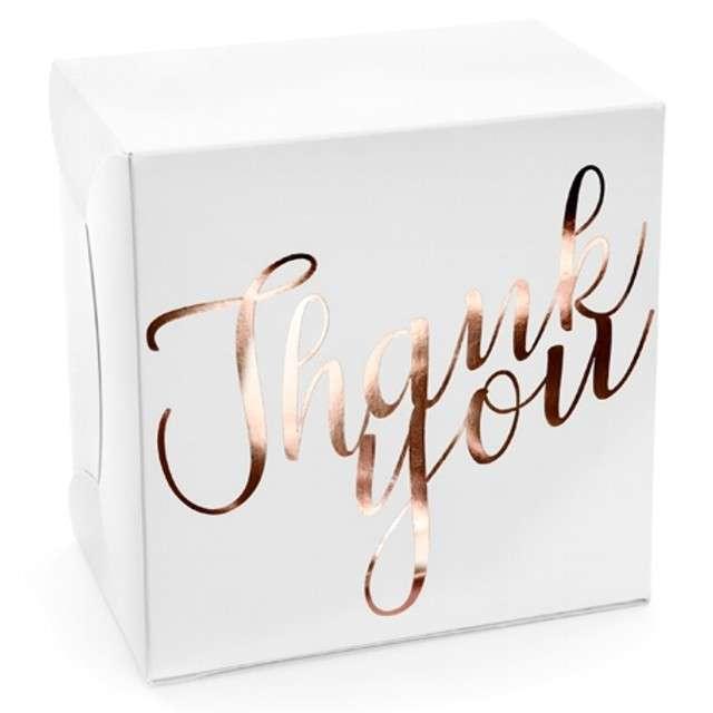 """Pudełko na ciasto """"Thank You"""", różowo-złoty, PartyDeco, 10 szt"""