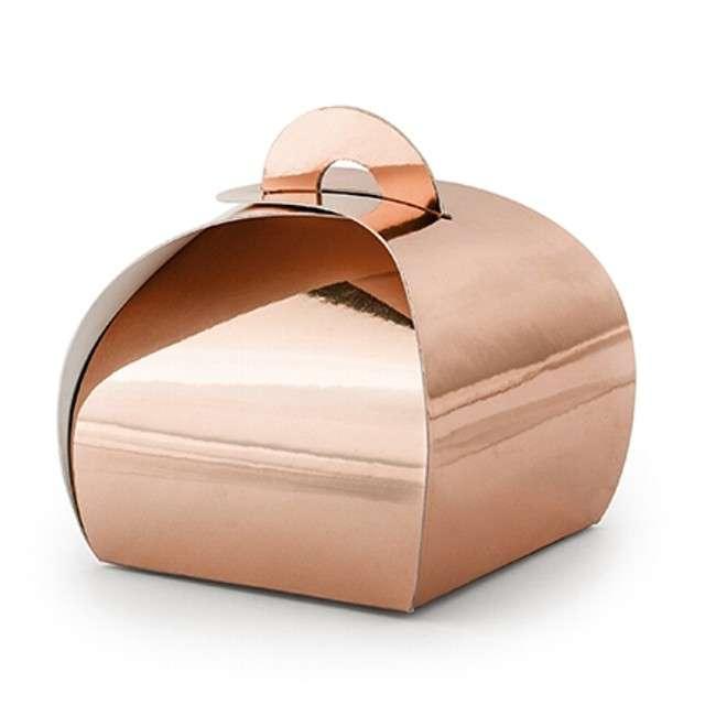 """Pudełeczka dla gości """"Premium Box"""", różowe złoto, PartyDeco, 10 szt"""