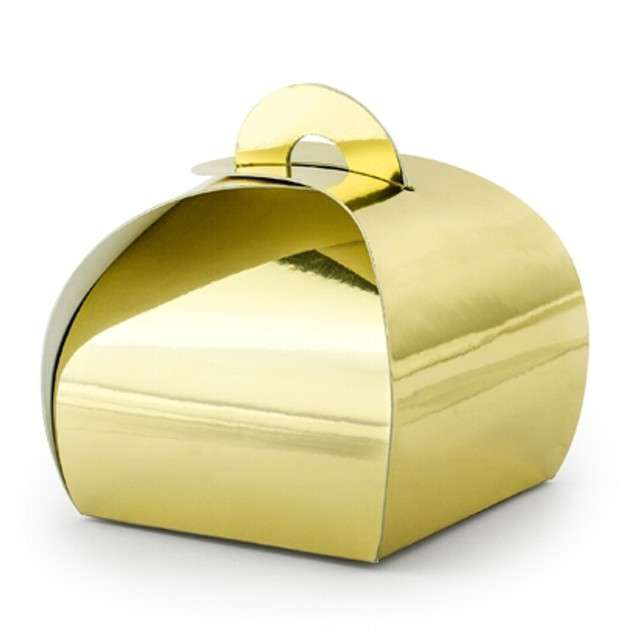 """Pudełeczka dla gości """"Premium Box"""", złoty, PartyDeco, 10 szt"""