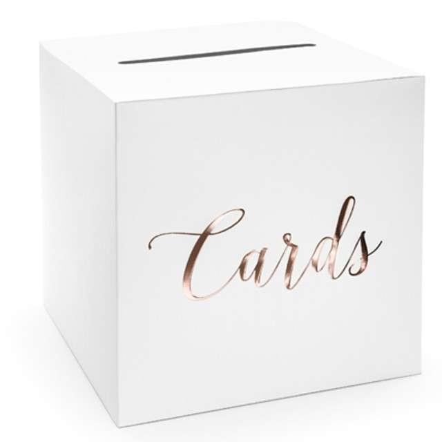 """Pudełko na telegramy """"Cards"""", Party Deco, różowe złoto, 24x24 cm"""
