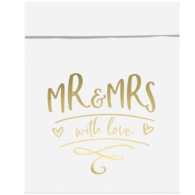 """Torebki na słodycze """"Mr & Mrs"""", złoty, Partydeco, 6 szt"""