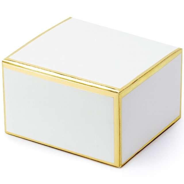 """Pudełeczka dla gości """"Gold Border"""", białe, PartyDeco, 10 szt"""