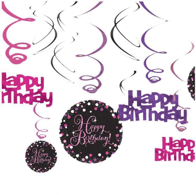 """Świderki wiszące """"Urodziny Happy Birthday"""", Sparkling Celebrations Pink, AMSCAN, 12 szt"""