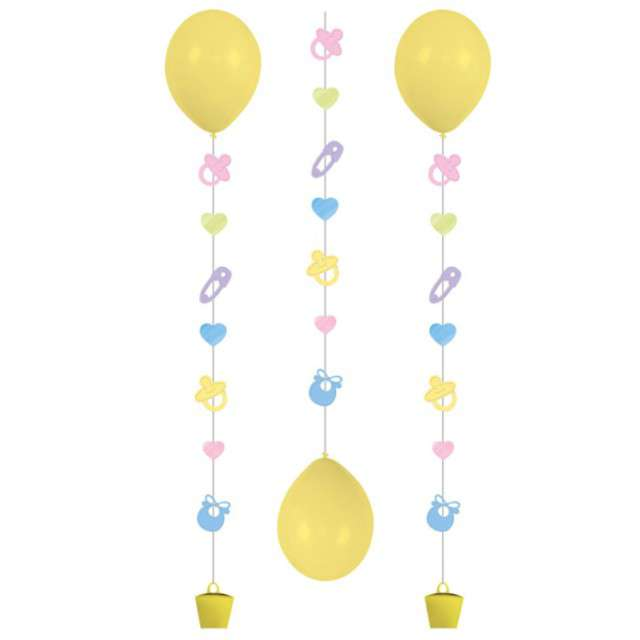 "Girlanda do balonów ""Baby Shower"", AMSCAN, mix, 100 cm, 3 szt"
