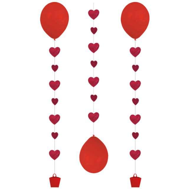 """Girlanda do balonów """"Serca"""", AMSCAN, mix, 100 cm, 3 szt"""