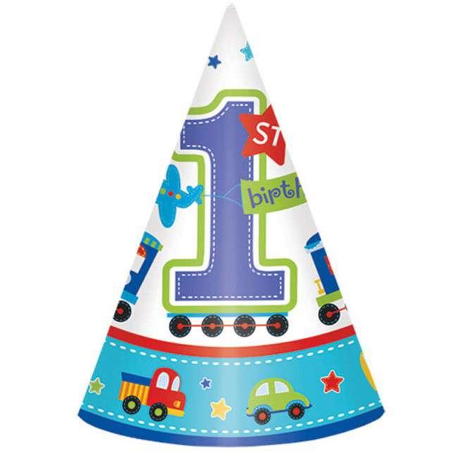 """Czapeczki papierowe """"All Aboard Birthday"""", AMSCAN, 16cm, 8 szt"""