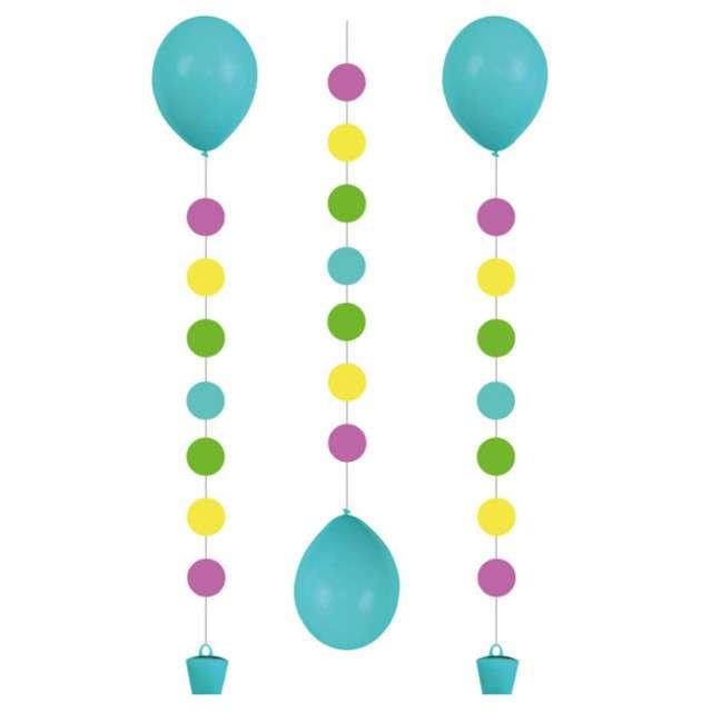 """Girlanda do balonów """"Kropki"""", AMSCAN, mix, 100 cm, 3 szt"""