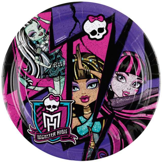 "Talerzyki papierowe ""Monster High"", AMSCAN, 18 cm, 8 szt"