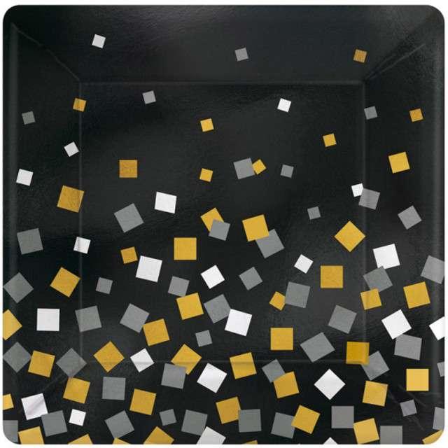 """Talerzyki papierowe """"Sparkling Confetti"""", czarne, AMSCAN, 25 cm, 8 szt"""