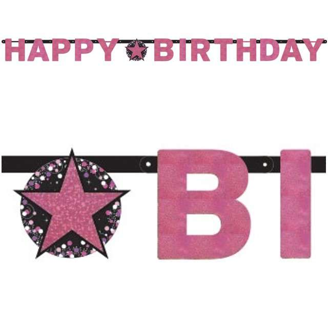 "Baner ""Happy Birthday - Sparkling Celebration Pink"", AMSCAN, 213 cm"