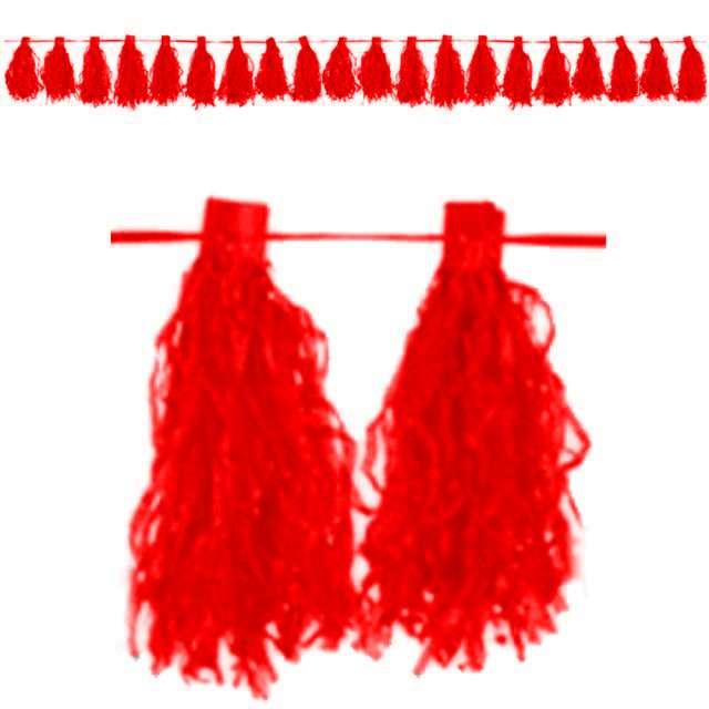 """Girlanda """"Frędzle"""", czerwony, AMSCAN, 300 cm"""