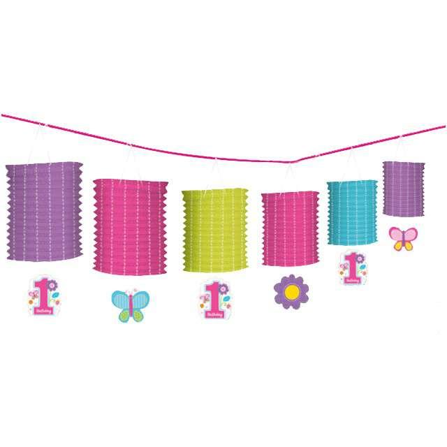 """Baner """"1 Urodziny dziewczynka"""", różowa, Amscan, 365 cm"""