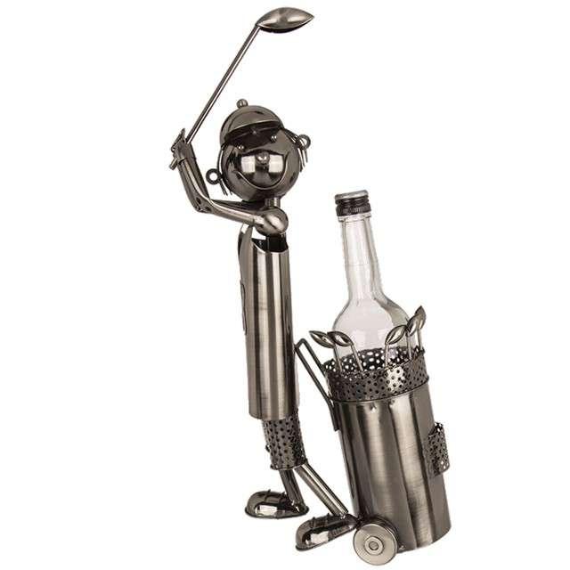 """Stojak na wino """"Golfista"""", metalowy, OOTB"""