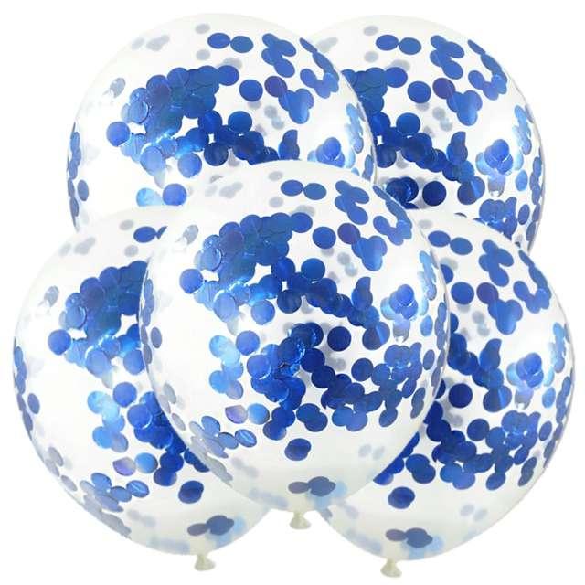 """Balony z konfetti """"Classic"""", niebieskie, DekoracjePolska, 12"""", 5 szt."""