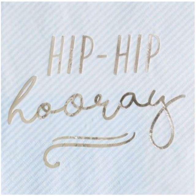 "Serwetki ""Hip Hip Hooray"", niebieskie, Ginger Ray, 33 cm, 16 szt"