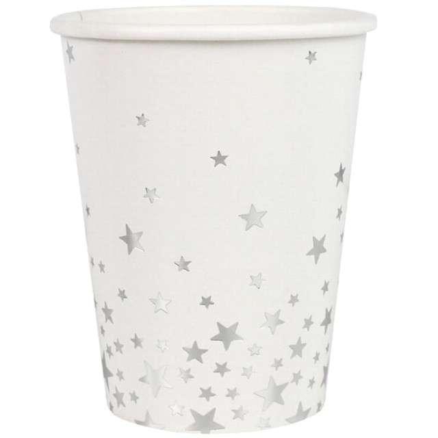 """Kubeczki papierowe """"Metalic Star"""", białe, Ginger Ray, 266 ml, 8 szt"""