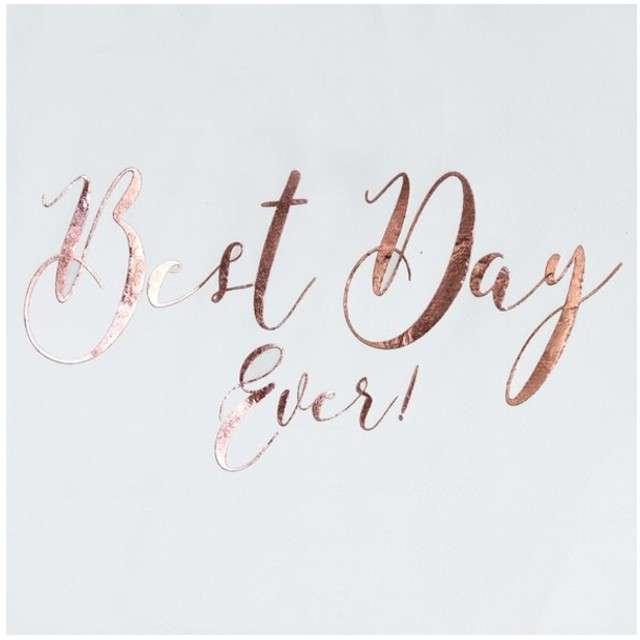 """Serwetki """"Best Day Ever"""", białe, Ginger Ray, 33 cm, 20 szt"""