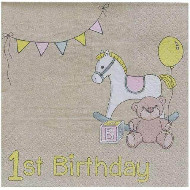 "Serwetki ""1st Birthday - Koń na biegunach"", Ginger Ray, 25 cm, 20 szt"