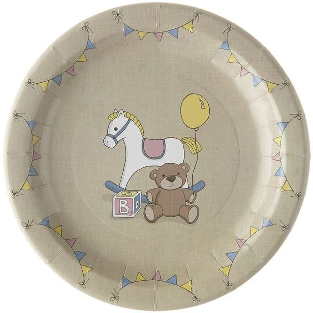 """Talerzyki papierowe """"Koń na biegunach"""", Ginger Ray, 23 cm, 8 szt"""