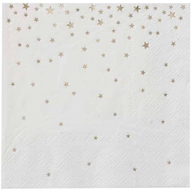 """Serwetki """"Metalic Star"""", białe, Ginger Ray, 25 cm, 20 szt"""
