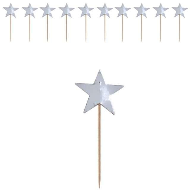 """Szpilki drewniane """"Gwiazdki"""", srebrne metaliczne, Ginger Ray, 10 szt"""
