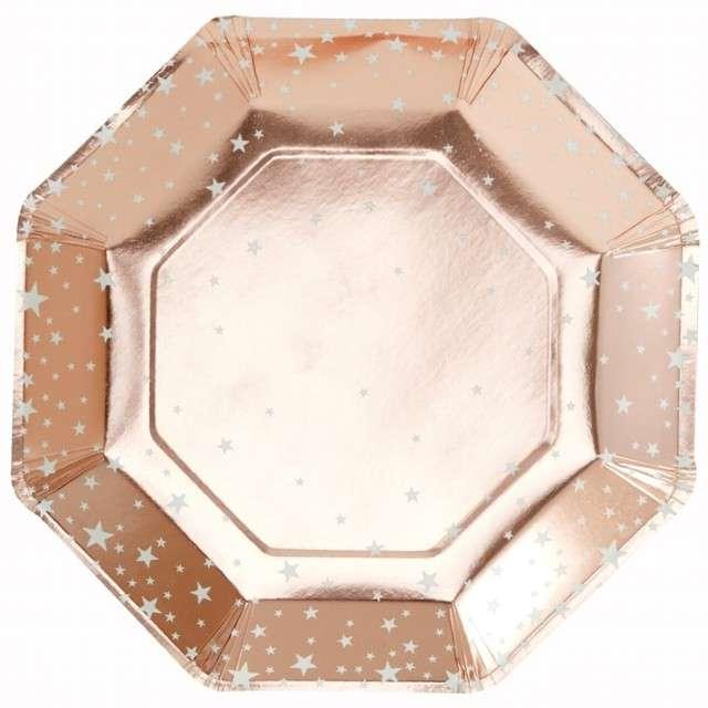 """Talerzyki papierowe """"Gwiazdki"""", różowe złoto, Ginger Ray, 23 cm, 8 szt"""