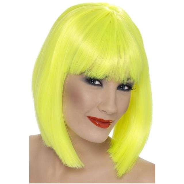 """Peruka party """"Neon"""", żółta, SMIFFYS"""