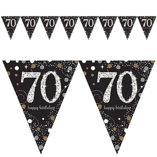 "Baner flagi ""70 Urodziny - Sparkling Celebrations Gold"", AMSCAN, 400 cm"