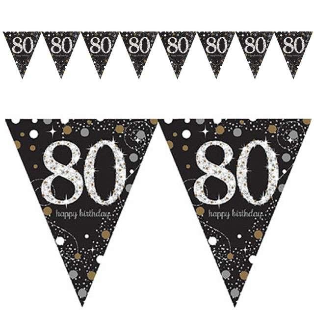 "Baner flagi ""80 Urodziny - Sparkling Celebrations Gold"", AMSCAN, 400 cm"
