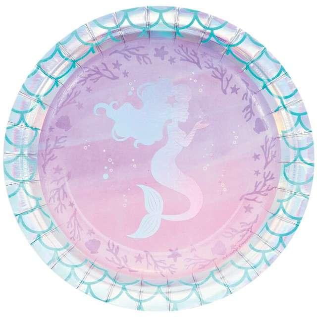 """Talerzyki papierowe """"Mermaid Shine"""", Creative Converting, 18 cm, 8 szt"""