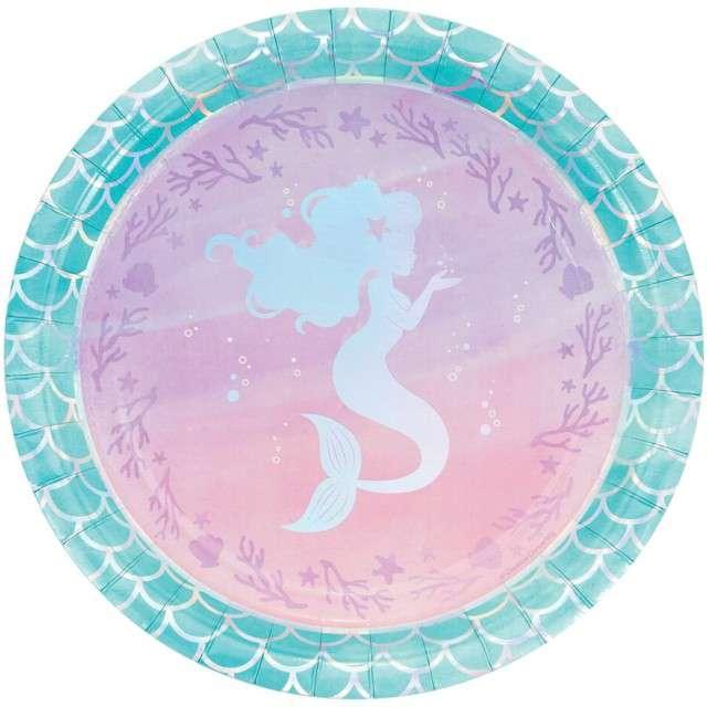 """Talerzyki papierowe """"Mermaid Shine"""", Creative Converting, 23 cm, 8 szt"""