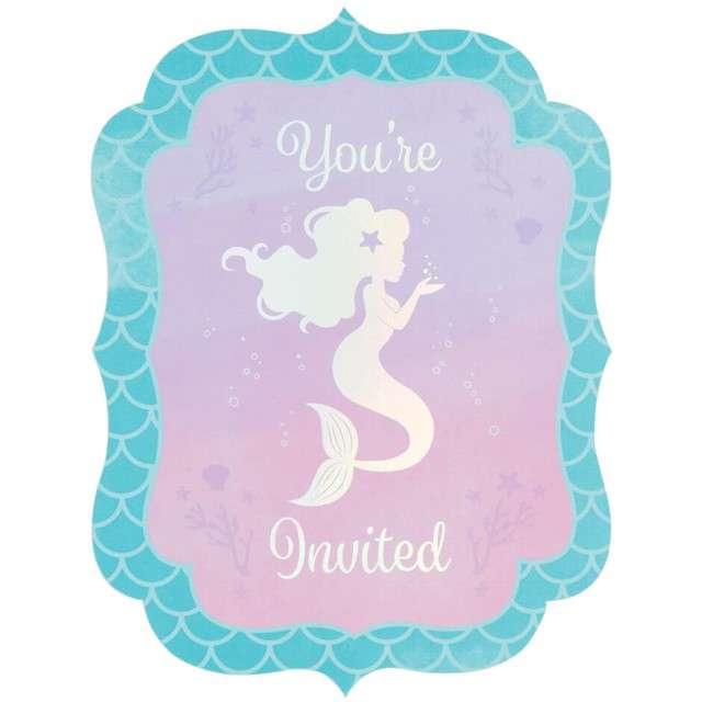 "Zaproszenia urodzinowe ""Mermaid Shine"", Creative Converting, 8 szt"