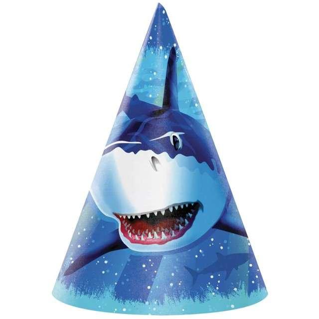 "Czapeczki papierowe ""Rekin Sharky"", Creative Converting, 8 szt"