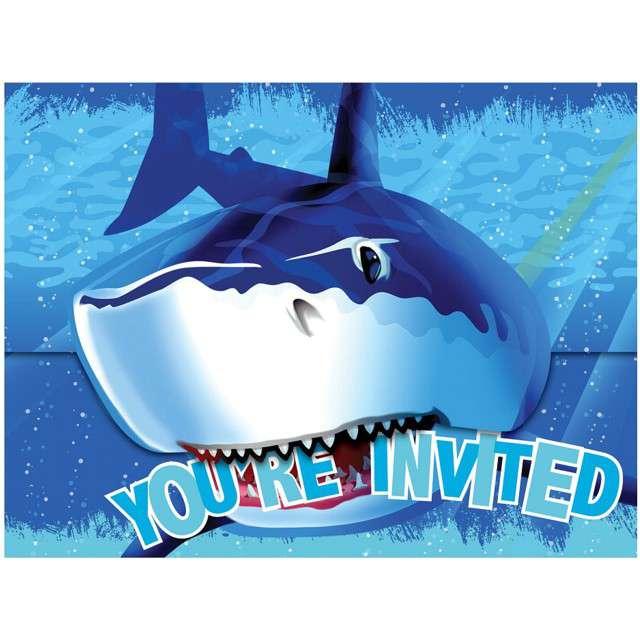 "Zaproszenia urodzinowe ""Rekin Sharky"", Creative Converting, 8 szt"