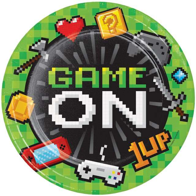"Talerzyki papierowe ""Gaming Party"", Creative Converting, 23 cm, 8 szt"
