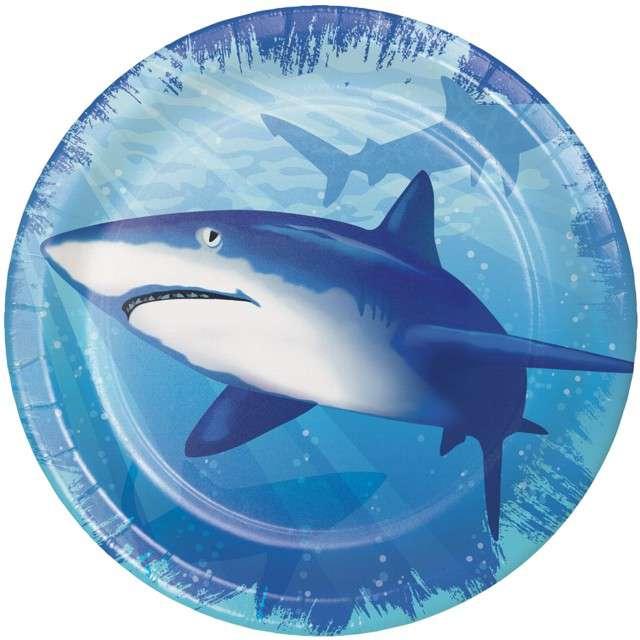 "Talerzyki papierowe ""Rekin Sharky"", Creative Converting, 18 cm, 8 szt"