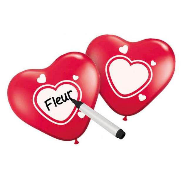 """Balony """"Serce z własnym napisem"""", Folat, 25 cm,  6 szt, HRT"""