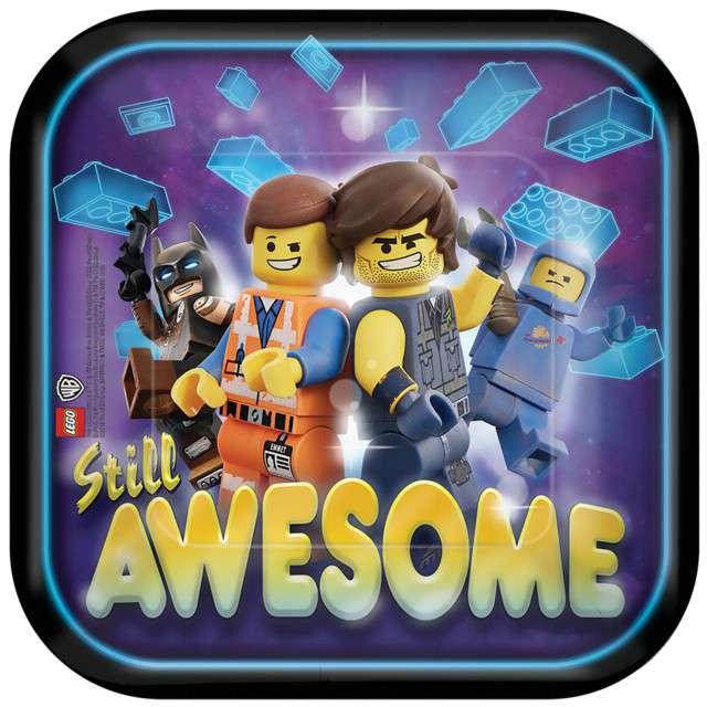 """Talerzyki papierowe """"Lego Movie 2"""", AMSCAN, 18 cm, 8 szt"""