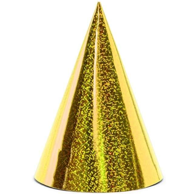 """Czapeczki papierowe """"Holograficzne"""", żółty, PartyDeco, 6 szt"""