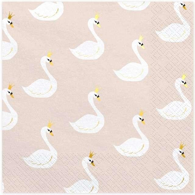 "Serwetki ""Lovely Swan"", PartyDeco, 33 cm, 20 szt"