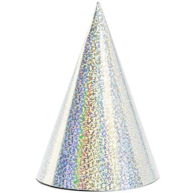 """Czapeczki papierowe """"Holograficzne"""", srebrny, PartyDeco, 6 szt"""