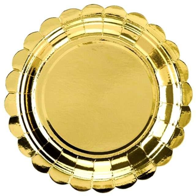"""Talerzyki papierowe """"Golden Plate"""", złote, PartyDeco, 18 cm, 6 szt"""